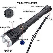 XHP160 güçlü el feneri Torch 21700 pil 10000mah şarj edilebilir XHP Led el  feneri taktik flaş ışığı USB Zoom lambası LED Flashlights