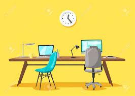computer desk office works. Office Work. Cartoon Vector Illustration Stock - 74393100 Computer Desk Works