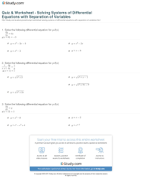 print separation of variables to solve system diffeial equations worksheet