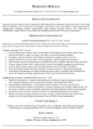 Resume Objective For Executive Assistant