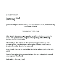 Media Release Form Template Announcement Format Images Of Free