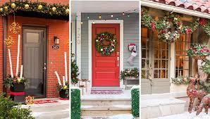 how to hang garland around front doorChristmas Door Decorations