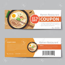 Food Voucher Template Japanese Food Coupon Discount Template Flat Design Royalty Free 1