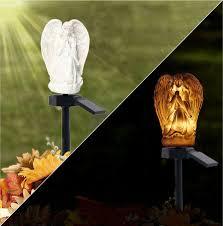 outdoor solar lights angel garden stake