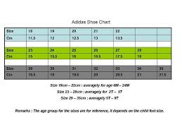 Adidas Shoes Size Chart India Kiddy Paradise