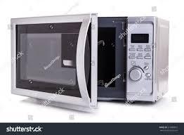 Silver Microwave Oven Open Door On Stock Photo 213089872 ...