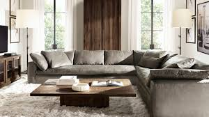rh s cloud sectional in pewter italian milano leather