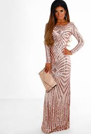 Golden Dreams Rose Gold Sequin Long Sleeve Maxi Dress Pink Boutique