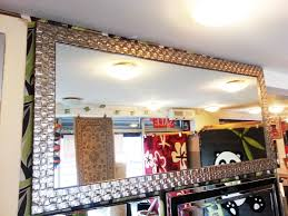 large antique silver mosaic wood frame wall mirror 160x75cm