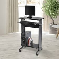 interior computer desk casters homcom home office wheeled stand up workstation w engaging table on