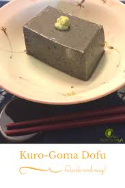 the traditional goma dofu is made from ground sesame paste and kudzu powder but this one is made from unsweetened soy milk black sesame paste