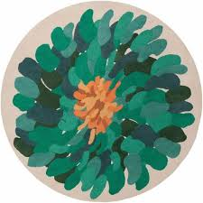 picture of ay teal flower round area rug