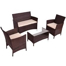 4pcs outdoor coffee table shelf modern garden sofa furniture set with cushion
