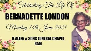 The Funeral Service Of Bernadette London - YouTube