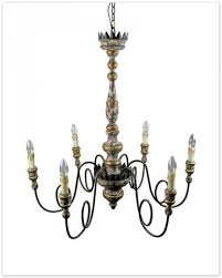 antique style wooden pendant light with 6 candle shape lights