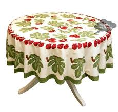 round fig red green tablecloth by nature cotton polyester tablecloths french