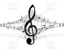 treblecleff musical notes and treble clef in center royalty free vector clip art