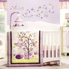 purple owl crib bedding forest animals pink flowers and owls nursery girls 4 piece baby crib bedding set for the girls nursery