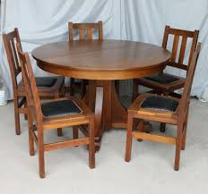 mission oak antique dining set stickley brothers arts and crafts