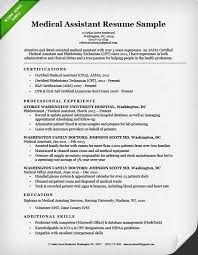 Resume Sample For Medical Assistant
