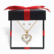 diamond accent 2 piece stud earrings and heart necklace set 14k gold plated with free gift box 18 20