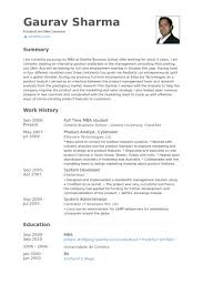 Full Time Mba Student Resume samples