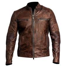 50 off on gents cafe racer brown distress real leather jacket