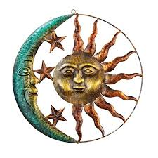 amazon collections etc artistic sun and moon metal wall art for indoor or outdoor use brown garden outdoor on rustic outdoor metal wall art with amazon collections etc artistic sun and moon metal wall art