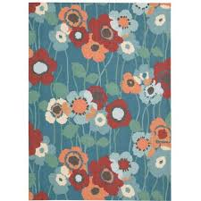 8 x 11 large blue white and papaya indoor outdoor rug waverly sun