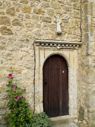 old round wooden door next churches wallpaper