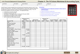 Chapter 4 The 10 Column Worksheet Accounting Cycle