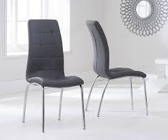 mark harris california grey faux leather dining chair pair