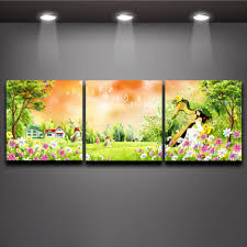 Paintings For Bedroom Decor Aliexpresscom Buy Forest Harp Fairy Multi Panel Paintings Wall