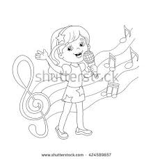 Small Picture Coloring Page Outline Cartoon Girl Singing Stock Vector 424589857