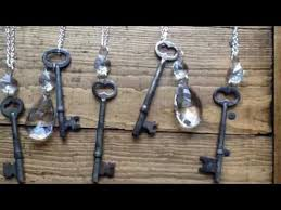 skeleton key and chandelier crystal necklace easy diy