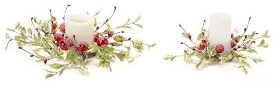 Pack of 4 Red & Green Holly Berry Artificial Floral Candle Rings