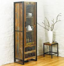 reclaimed wood display cabinet with metal frame wondrous narrow cabinets with doors furniture