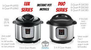 Instant Pot Simplified Model Comparison Guide Ip Lux Ip