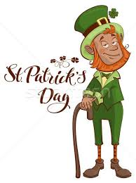 St.Patricks Day. <b>Old man</b> with <b>red beard</b> in green suit holding cane ...