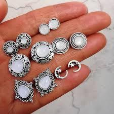 <b>6 Pairs/set Vintage</b> Luxury Water Drop Opal Earrings Moon Flower ...