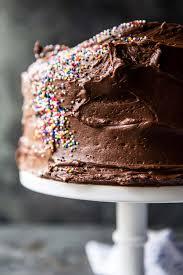 Vanilla Birthday Cake With Whipped Chocolate Buttercream Half