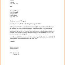 Letter Of Resignation No Notice Period New Example Basic Resignation