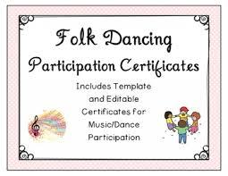 Dance Award Certificate Folk Dancing Music Participation Certificates End Of Year Award Editable