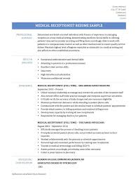 Resume For Medical Receptionist Resume Receptionist Receptionist ...