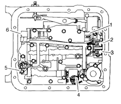 where is my 1 2 shift solenoid located under the transmission graphic