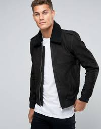 Selected Homme Leather Flight Jacket with Removeable Borg Collar ... & Selected Homme Leather Flight Jacket with Removeable Borg Collar Black Men  Jackets,selected quilted jacket,100% authentic Adamdwight.com