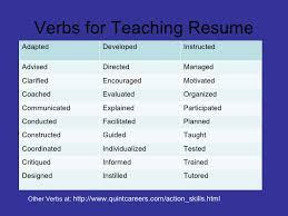 Resume Verbs For Teachers Teacher Resume Verbs Images Resume Format