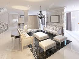 art deco living room. Art Deco Living Room Design With White Furniture Black Console Side Sofa Two Floor Lamps M