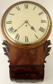 antique flame mahogany drop dial fusee wall clock circa 1860 8 day timepiece time only non striking fusee movement with long pendulum just been cleaned