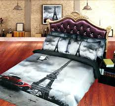 tower comforter set vintage style grey and red car print queen king size bedding sets eiffel